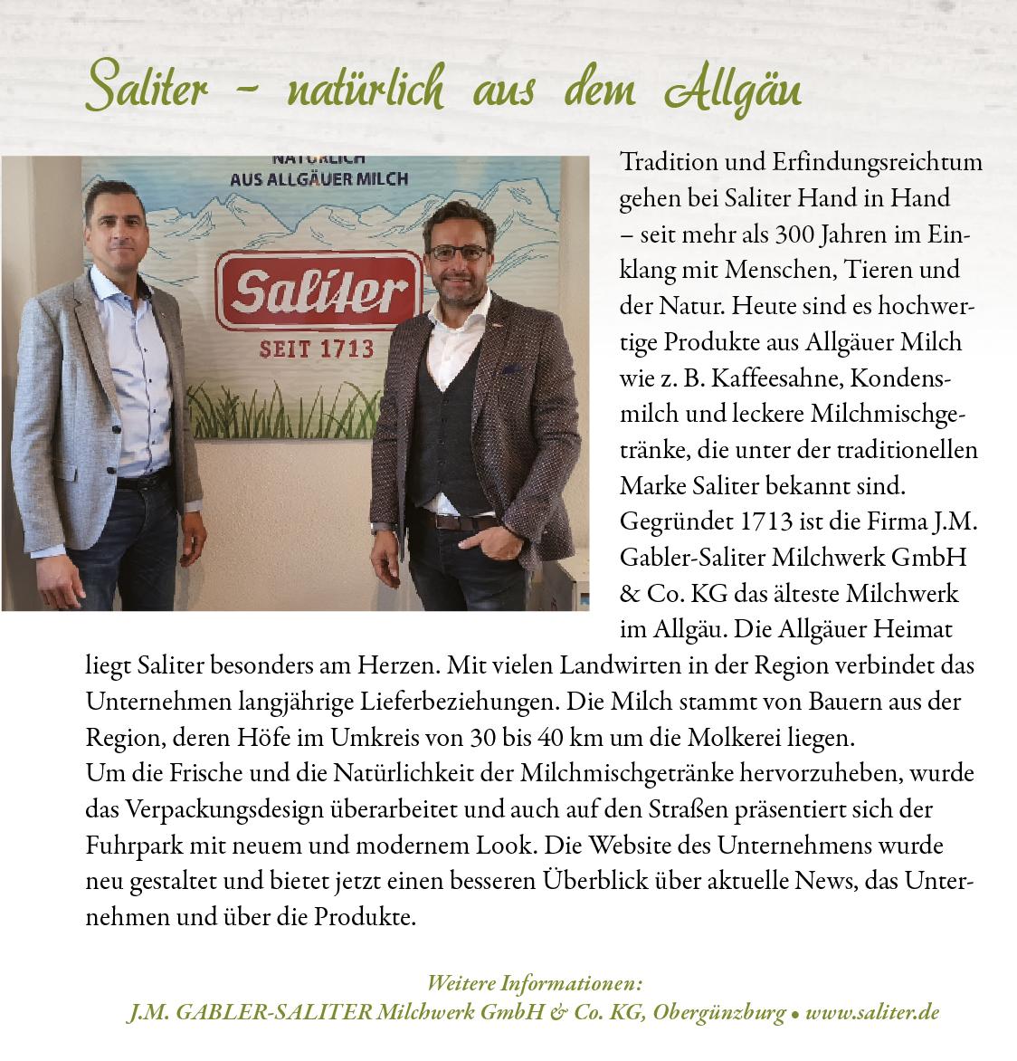 """Redaktioneller Beitrag """"Die Allgäuerin"""" Sep./Okt. 2020"""